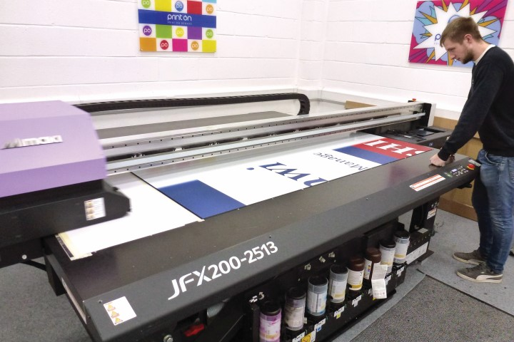 Print On's Matt Peters with the Mimaki JFX200 flatbed printer