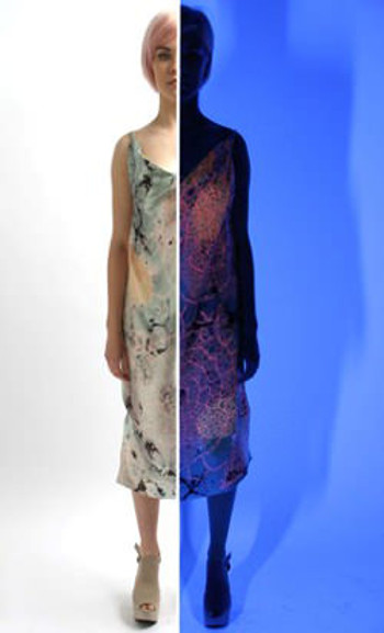 Niamh-Burgess-Split-screen-fluorescent-coral-print-under-uv-light-dress