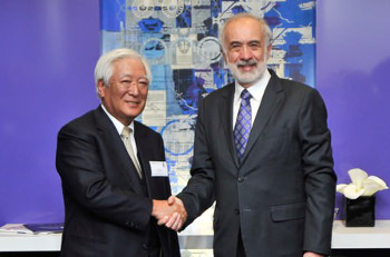 Benny Landa, Chairman and CEO Landa Corporation and Yoshiharu Komori, President, Chairman and CEO Komori Corporation