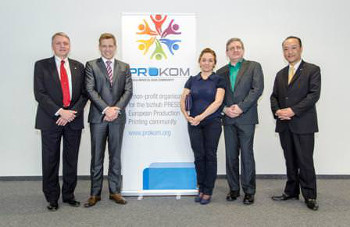 European launch PROKOM board members Andy Barber, Sara Grande and Harald Büttner are flanked by Konica Minolta's Etienne Van Damme (left) and Ken Osuga at the official launch of the new user group community